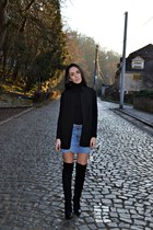 black Stradivarius boots - black Zara vest - sky blue SH skirt