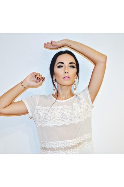 white H&M blouse - cream Local store earrings