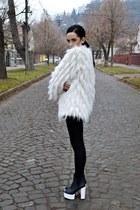 cream faux fur Local store coat - black H&M boots