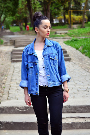 turquoise blue denim vintage jacket - black ripped Zara jeans