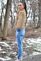 sky blue Zara jeans - camel faux fur Stradivarius coat - light pink Zara socks