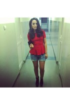 black Zara Trf boots - sky blue jeans Bershka shorts - red Zara blouse