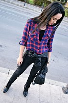 ruby red plaid Stradivarius shirt - black Zara boots - black Zara jeans