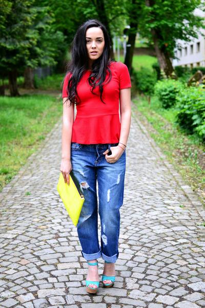 red peplum Zara top - navy boyfriend H&M jeans - lime green clutch Bershka bag
