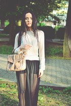 cream lace Zara blouse - camel Stradivarius bag - black Zara pants