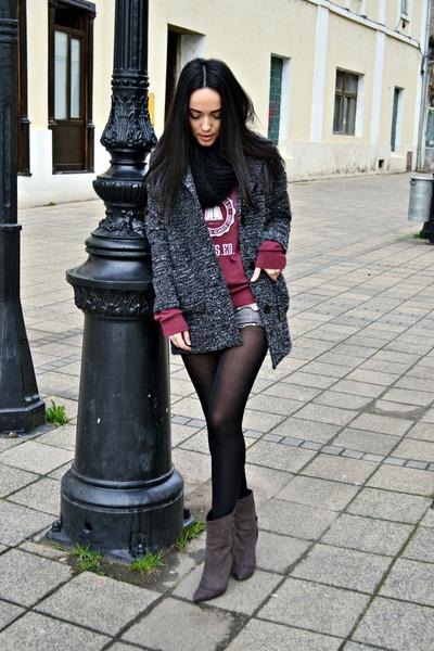 charcoal gray H&M coat - charcoal gray Bershka boots - heather gray H&M shorts