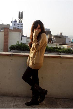 asos boots - no brand leggings - vintage cardigan