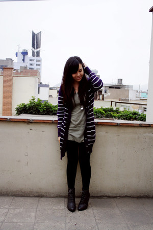 Forever 21 boots - H&M dress - no brand leggings - Navigata cardigan