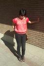 Pink-contempo-blouse-brown-risk-sunglasses-blue-dooney-bourke-purse-blac