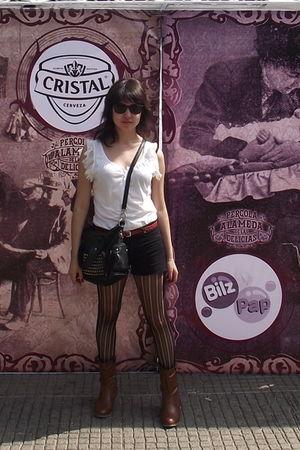 white Gap skirt - black shorts - orange belt - black panties - brown boots - bla