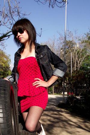 red dress - white shoes - black panties
