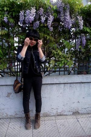 black jeans - brown boots - brown bag - black skirt - brown glasses
