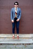 gray H&M blazer - beige H&M shirt - beige lanvin tie - blue Levis jeans