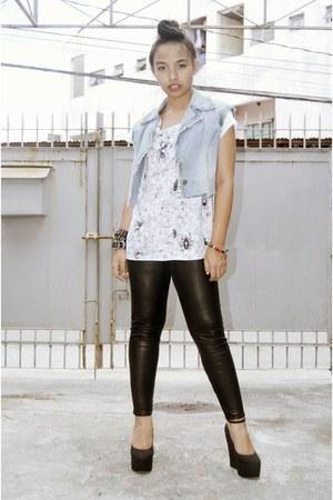 black leather leggings - white Nava top - sky blue diy vest - black wedges