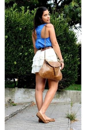 camel Primark flats - camel Springfield bag - nude Bershka skirt