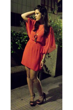 carrot orange Primark dress - dark brown Primark sandals