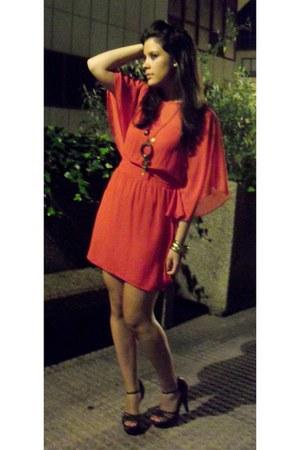 carrot orange Primark dress - dark brown Primark sandals