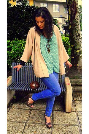 chartreuse Stradivarius t-shirt - nude Zara cape - dark brown Primark sandals