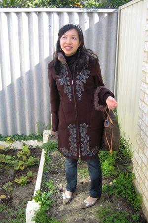 brown MNG coat - blue sass & bide jeans - brown Louis Vuitton purse - black Zara