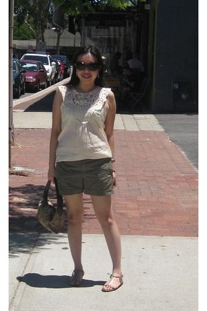 beige Sunny Girl top - brown Mango shorts - purple coach purse - gold Vincci sho