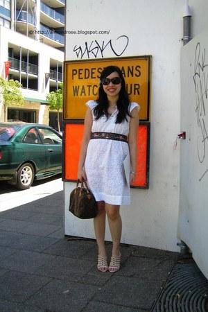 white Kachel dress - white Vincci shoes - blue Miss Shop belt - periwinkle Alann