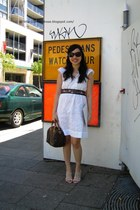 white Kachel dress - white Vincci shoes - blue Miss Shop belt - periwinkle Alann