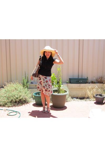tan Sportsgirl hat - dark brown Louis Vuitton bag - teal Vincci heels - turquois