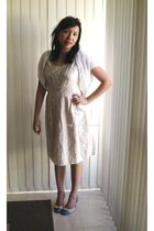 beige Katherine dress - white made by me cardigan - gray Kookai shoes