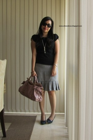 blue tailored tweed skirt - navy with bow detail Charles & Keith shoes