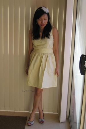 yellow Dolly Girl dress - white Charles & Keith shoes - white diva accessories -