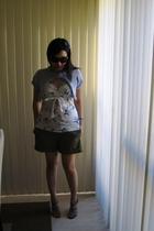 blue Handknit jacket - blue Valley Girl top - brown Mango shorts - brown Vincci