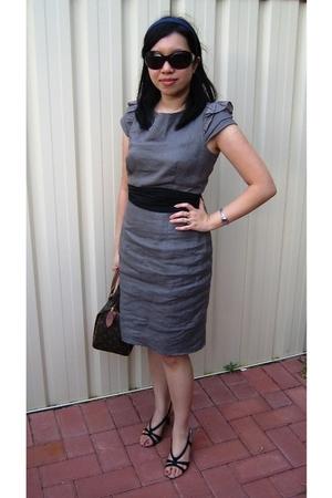 gray warehouse dress - black Vincci shoes - brown Louis Vuitton purse
