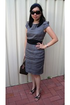 gray warehouse dress - black Vincci shoes - brown Louis Vuitton purse
