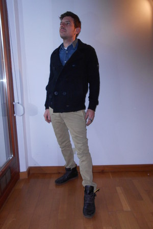 dark brown Diesel boots - navy jeans H&M shirt - eggshell Diesel pants