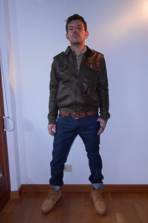 dark brown leather jacket Diesel jacket - burnt orange Timberland boots