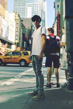 white H&M t-shirt - heather gray Zara jeans - light brown Topman shoes - dark br