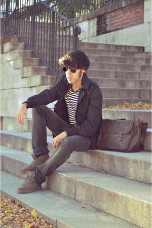 black Zara coat - white H&M t-shirt - gray Zara jeans - light brown Coolway boot