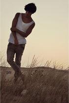 white Zara t-shirt - silver Topman jeans - brown Zara shoes