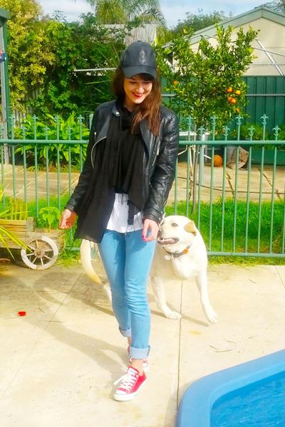 leather bardot hat - high waisted golf punk jeans - leather Zara jacket