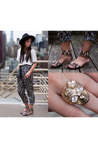 black Urban Outfitters hat - printed Mango pants - studded Aldo sandals