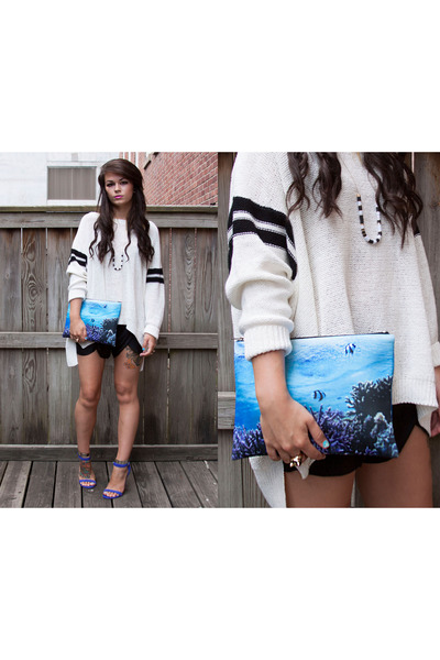 ivory heavy knit Zara sweater - blue neoprene Pixie Market bag