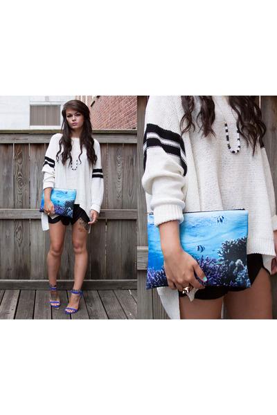 ivory heavy knit Zara sweater - blue neoprene Pixie Market bag
