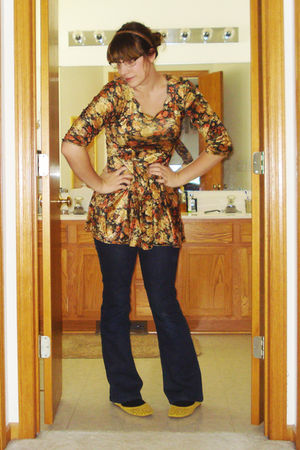 yellow Target shoes - gold worn as top vintage dress - blue Delias jeans