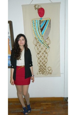black blazer - navy shoes - cream shirt - ruby red Alexandra Marin skirt