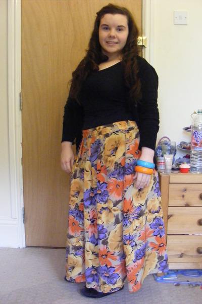 mustard thrifted vintage skirt - black Primark vest - black Primark cardigan - c