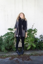 blazer - Lily McNeal sweater - UO pants - boots - Francesco Biasia purse