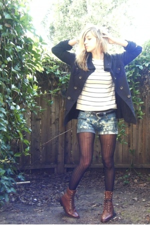 Levis shorts - American Rag coat - Gap sweater - UO tights - Dan Post boots