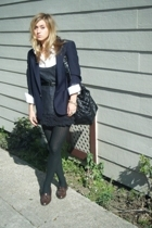 blazer - aa blouse - Samantha Treacy dress - belt - Random shop in venice tights