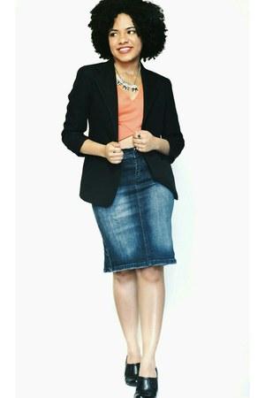 black Express blazer - salmon Charlotte Russe top - navy Nordstrom skirt