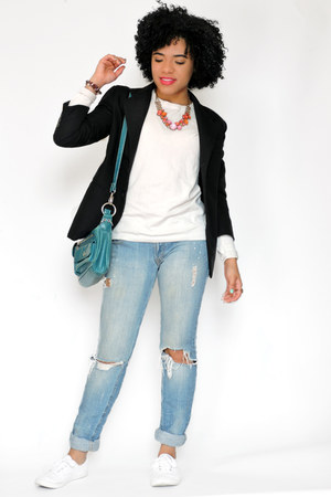 black Express blazer - sky blue Levis jeans - white Topshop sweater